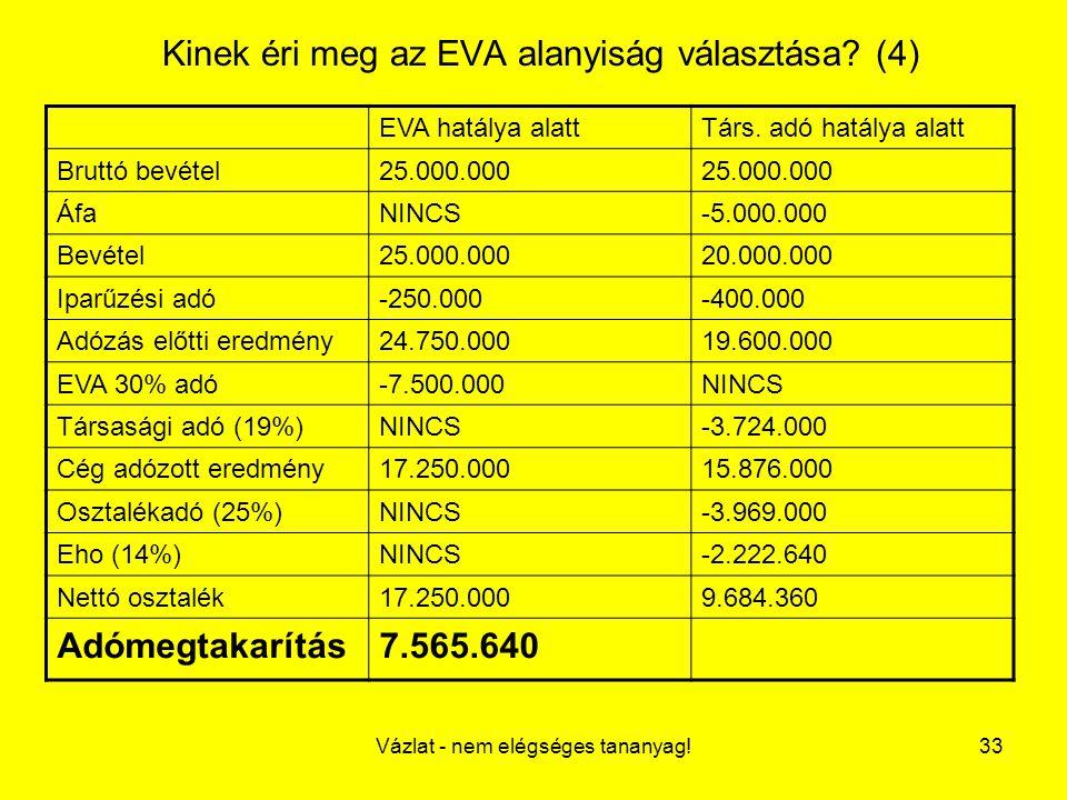 Kinek éri meg az EVA alanyiság választása (4)
