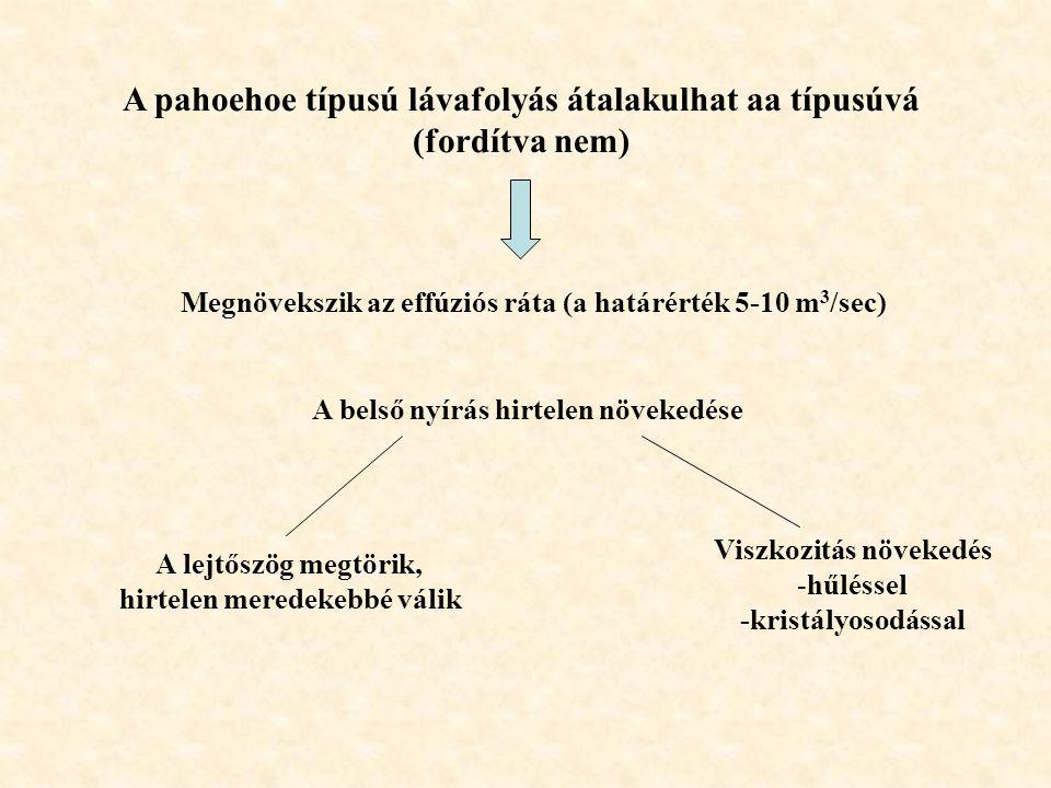 A pahoehoe típusú lávafolyás átalakulhat aa típusúvá (fordítva nem)