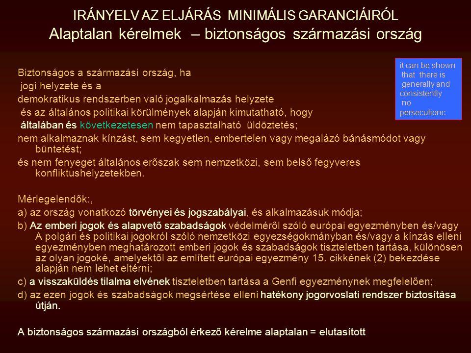 IRÁNYELV AZ ELJÁRÁS MINIMÁLIS GARANCIÁIRÓL Alaptalan kérelmek – biztonságos származási ország