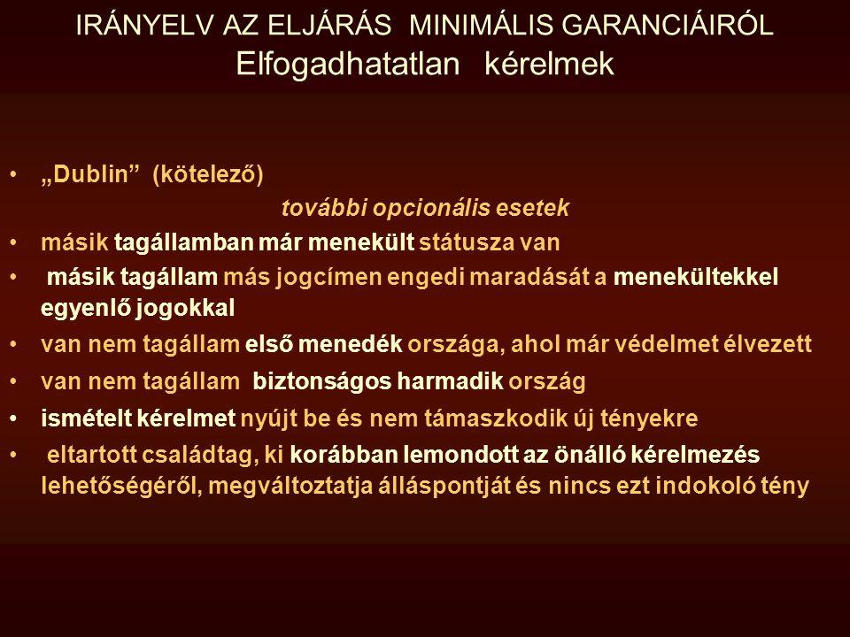 IRÁNYELV AZ ELJÁRÁS MINIMÁLIS GARANCIÁIRÓL Elfogadhatatlan kérelmek