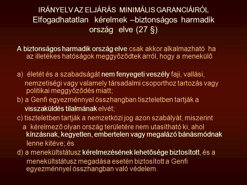 IRÁNYELV AZ ELJÁRÁS MINIMÁLIS GARANCIÁIRÓL Elfogadhatatlan kérelmek –biztonságos harmadik ország elve (27 §)