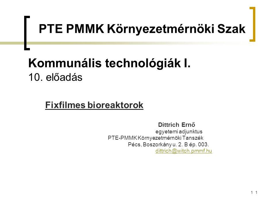 Kommunális technológiák I. 10. előadás