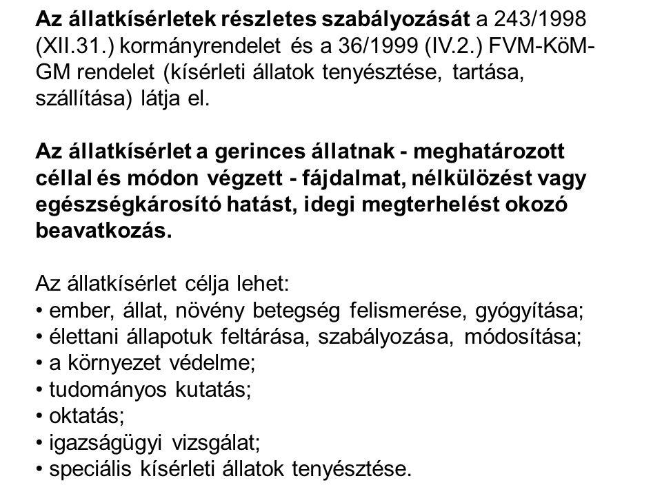 Az állatkísérletek részletes szabályozását a 243/1998 (XII. 31