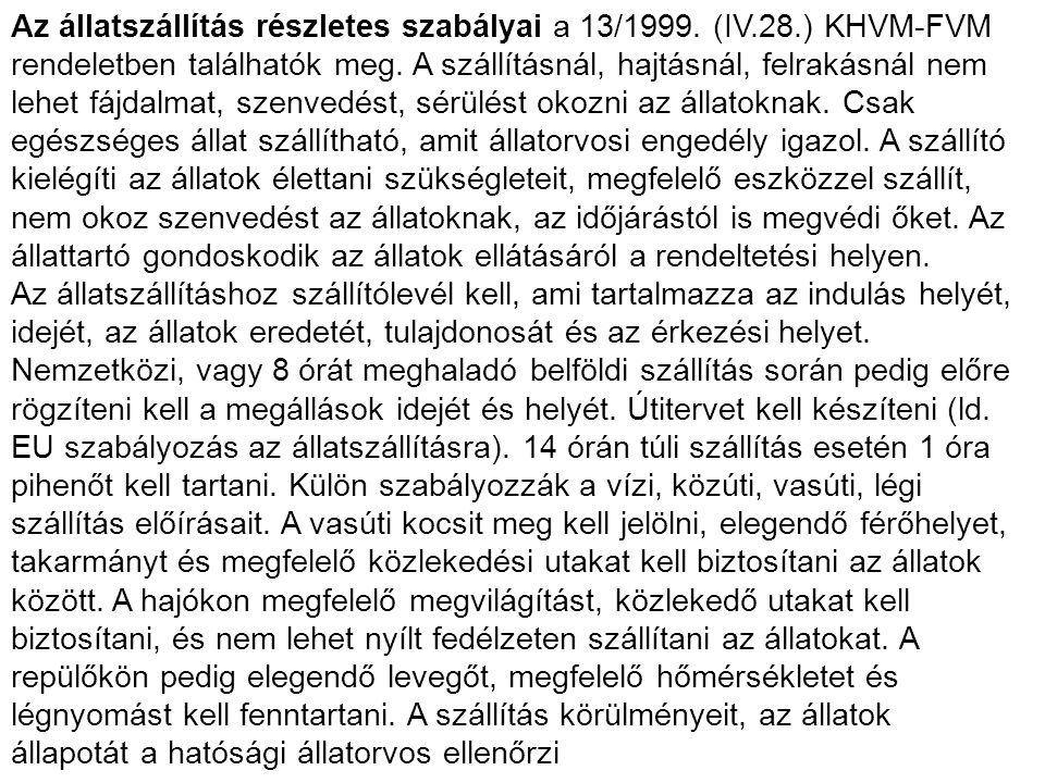 Az állatszállítás részletes szabályai a 13/1999. (IV. 28