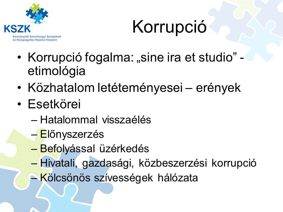 "Korrupció Korrupció fogalma: ""sine ira et studio - etimológia"