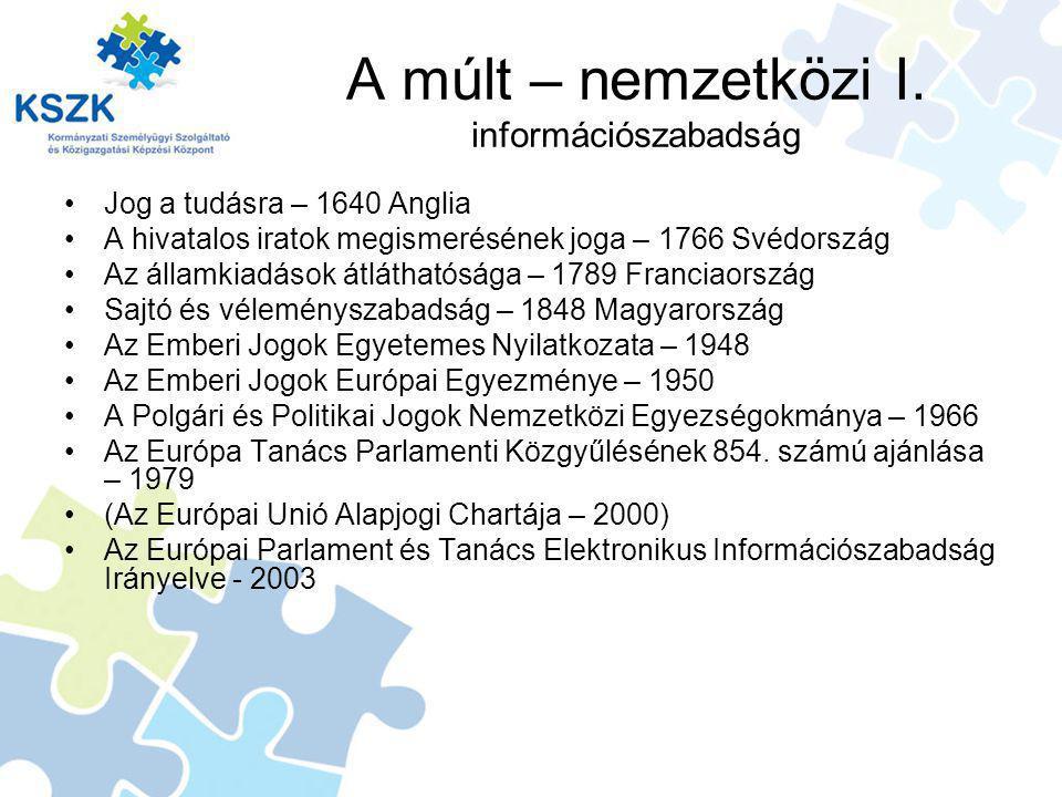 A múlt – nemzetközi I. információszabadság