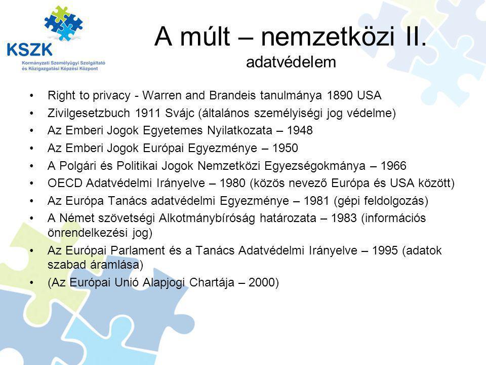 A múlt – nemzetközi II. adatvédelem