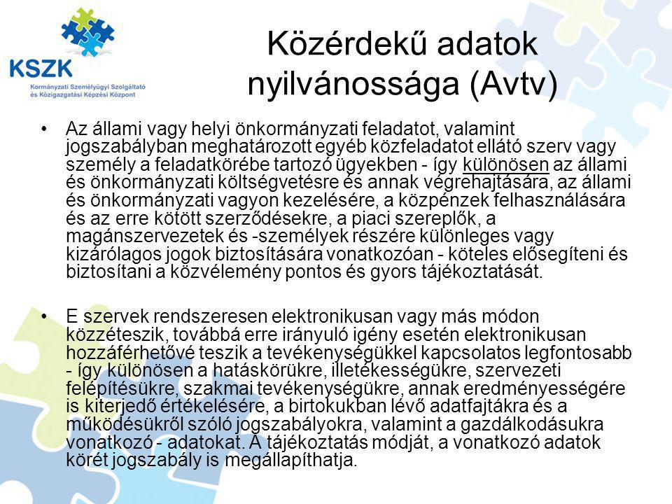 Közérdekű adatok nyilvánossága (Avtv)