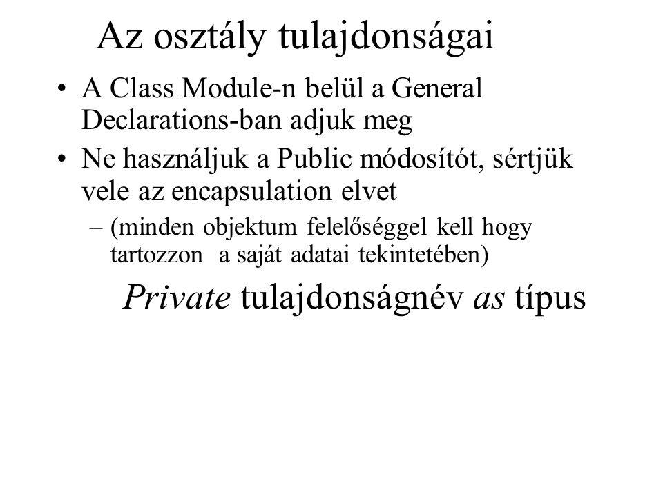 Az osztály tulajdonságai