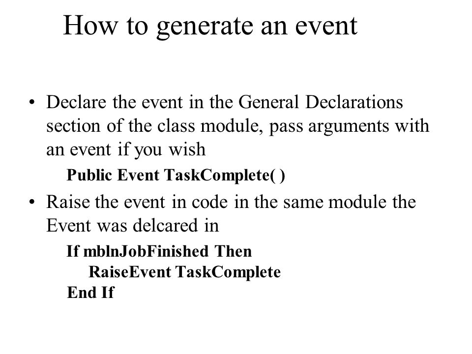 How to generate an event