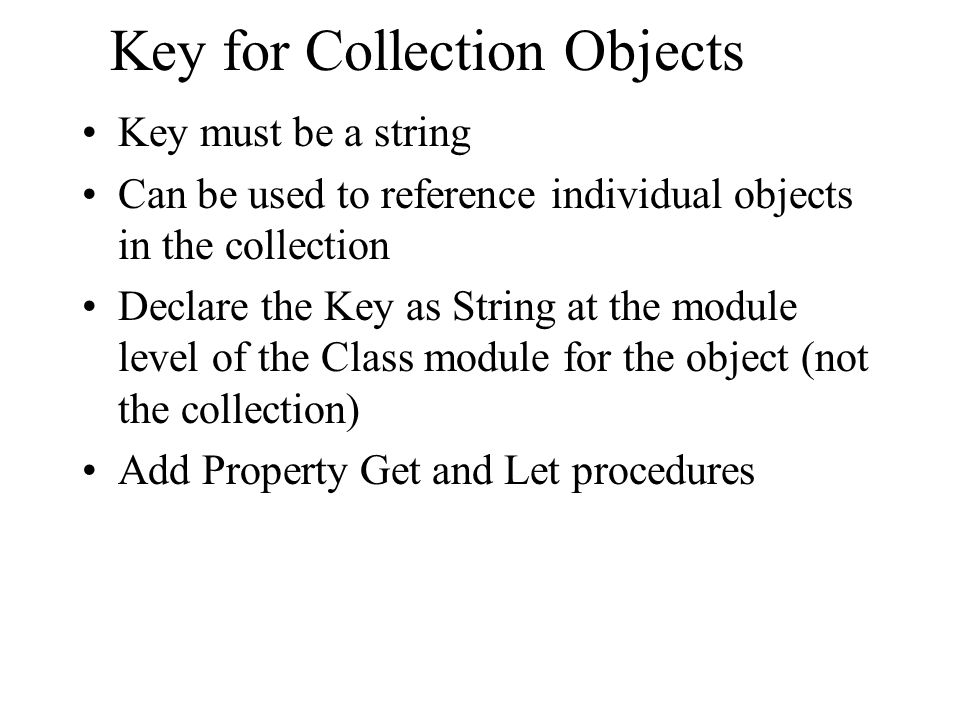 Key for Collection Objects