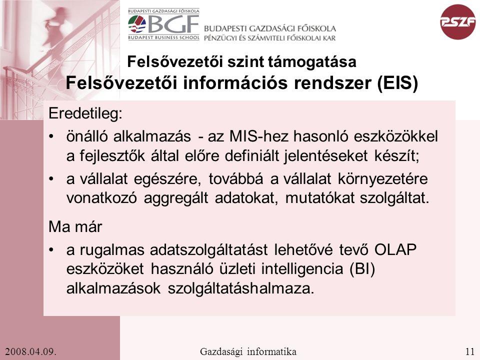 Felsővezetői szint támogatása Felsővezetői információs rendszer (EIS)