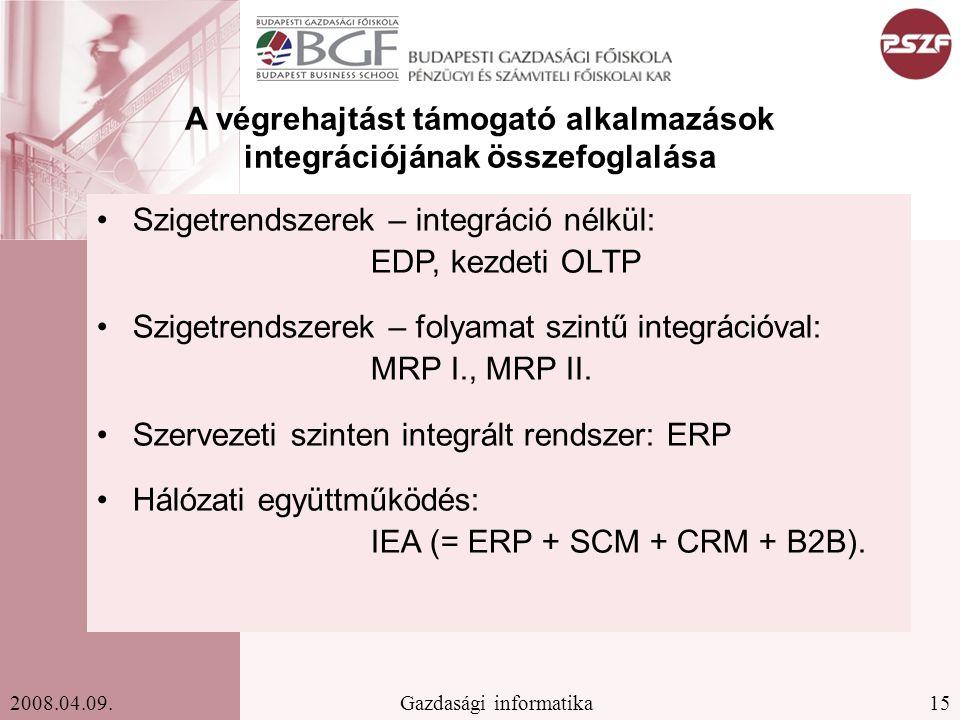 A végrehajtást támogató alkalmazások integrációjának összefoglalása