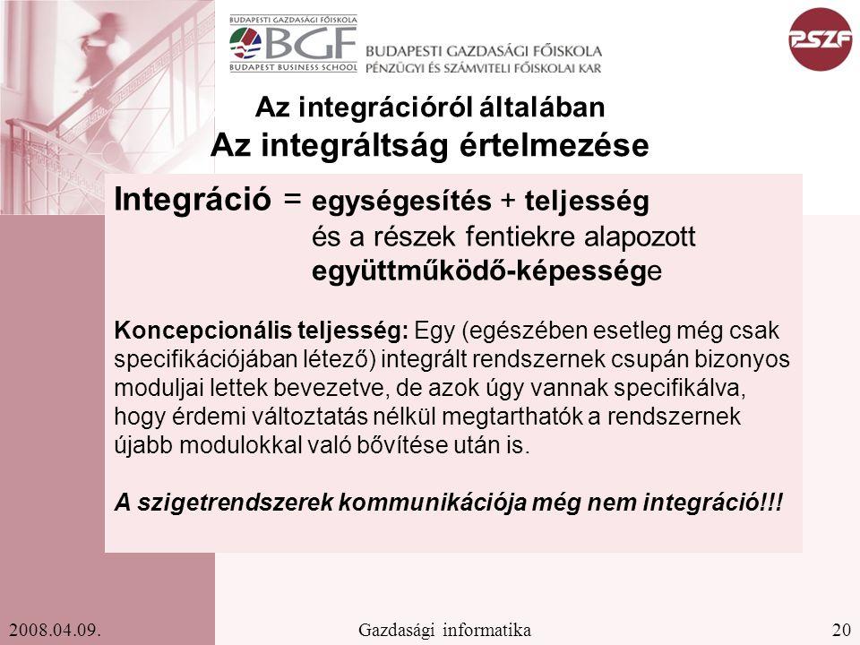 Az integrációról általában Az integráltság értelmezése