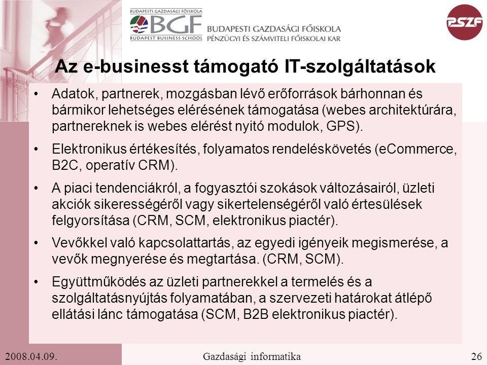 Az e-businesst támogató IT-szolgáltatások