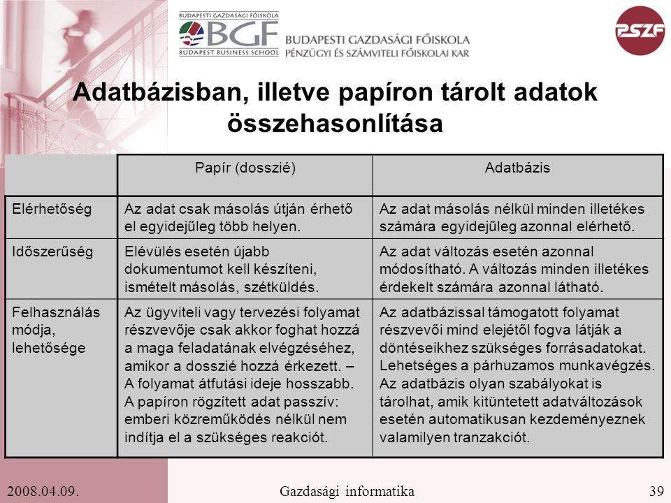 Adatbázisban, illetve papíron tárolt adatok összehasonlítása