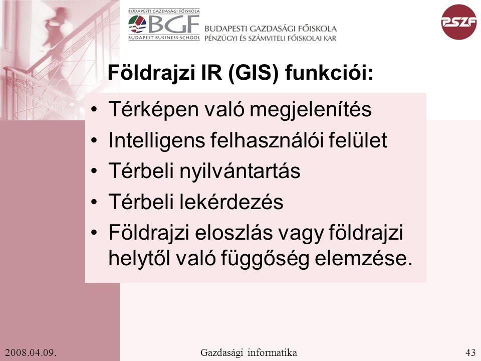 Földrajzi IR (GIS) funkciói: