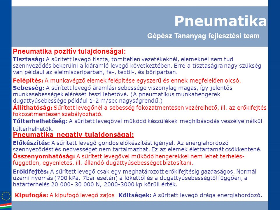 Pneumatika Gépész Tananyag fejlesztési team