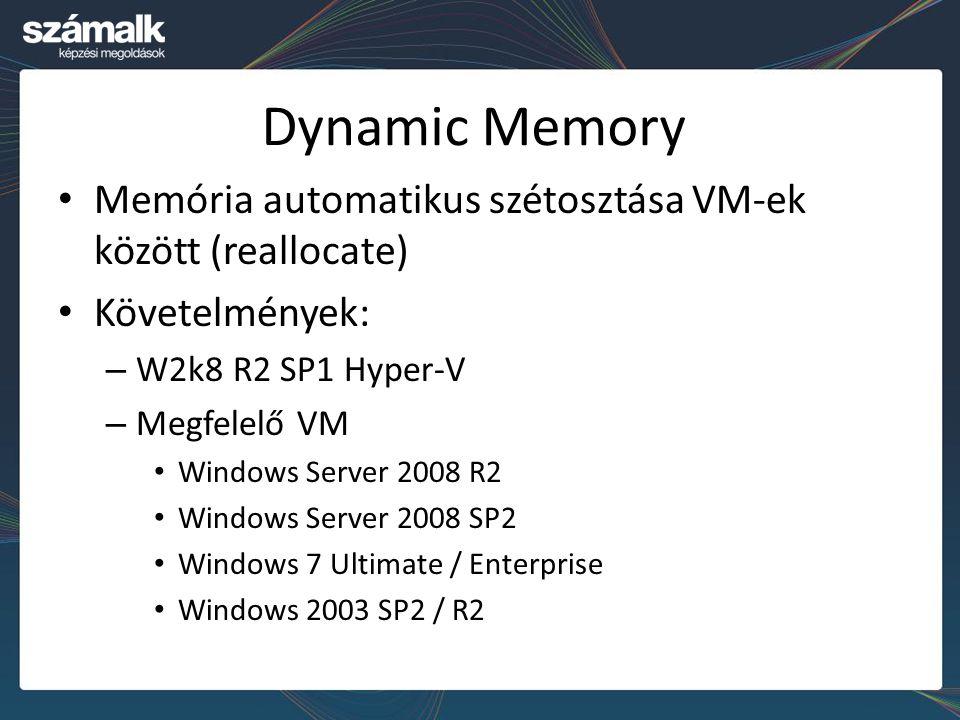 Dynamic Memory Memória automatikus szétosztása VM-ek között (reallocate) Követelmények: W2k8 R2 SP1 Hyper-V.