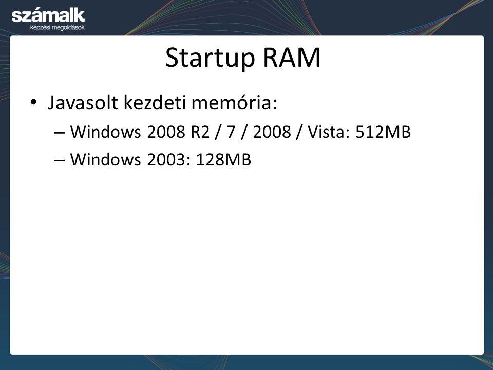Startup RAM Javasolt kezdeti memória: