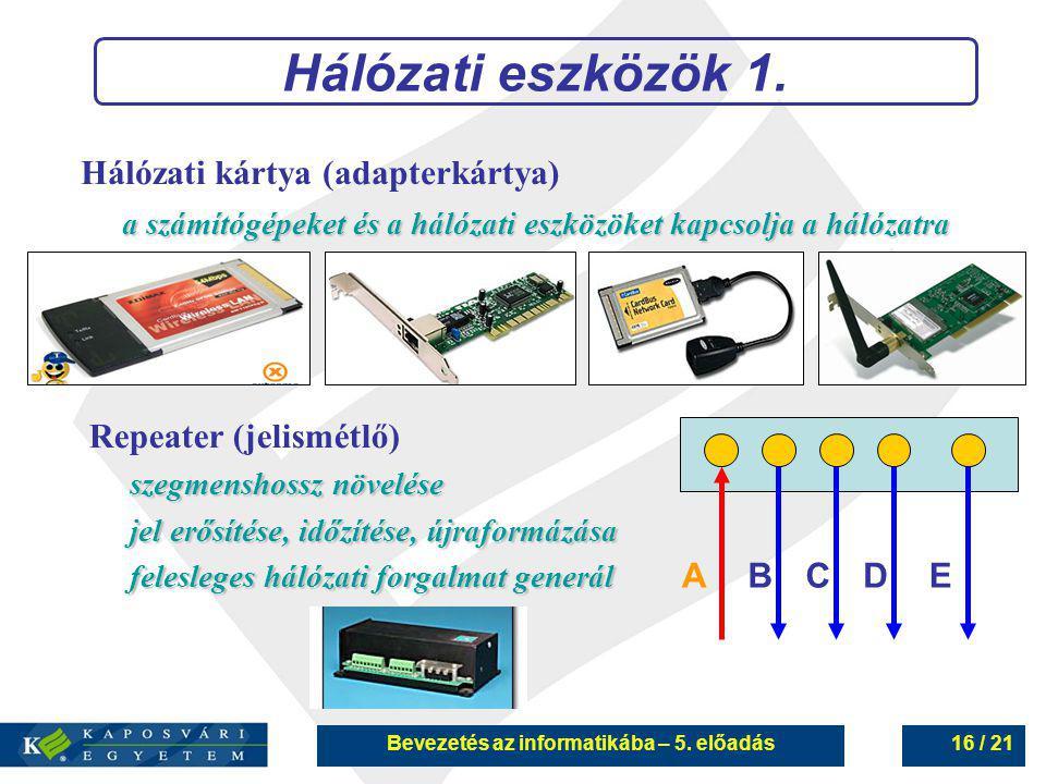 Bevezetés az informatikába – 5. előadás