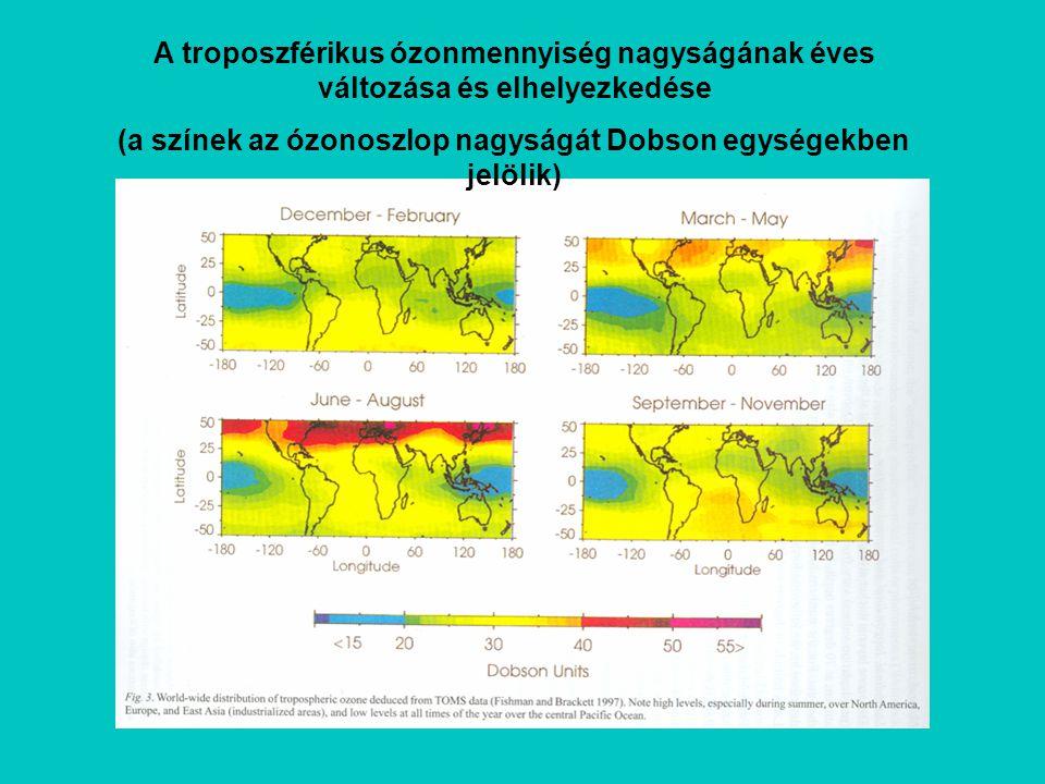 (a színek az ózonoszlop nagyságát Dobson egységekben jelölik)