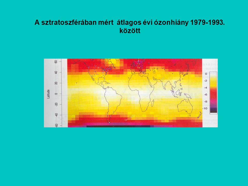 A sztratoszférában mért átlagos évi ózonhiány 1979-1993. között