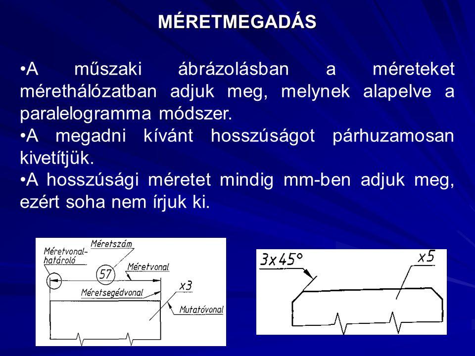 MÉRETMEGADÁS A műszaki ábrázolásban a méreteket mérethálózatban adjuk meg, melynek alapelve a paralelogramma módszer.
