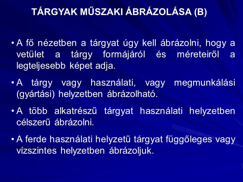 TÁRGYAK MŰSZAKI ÁBRÁZOLÁSA (B)
