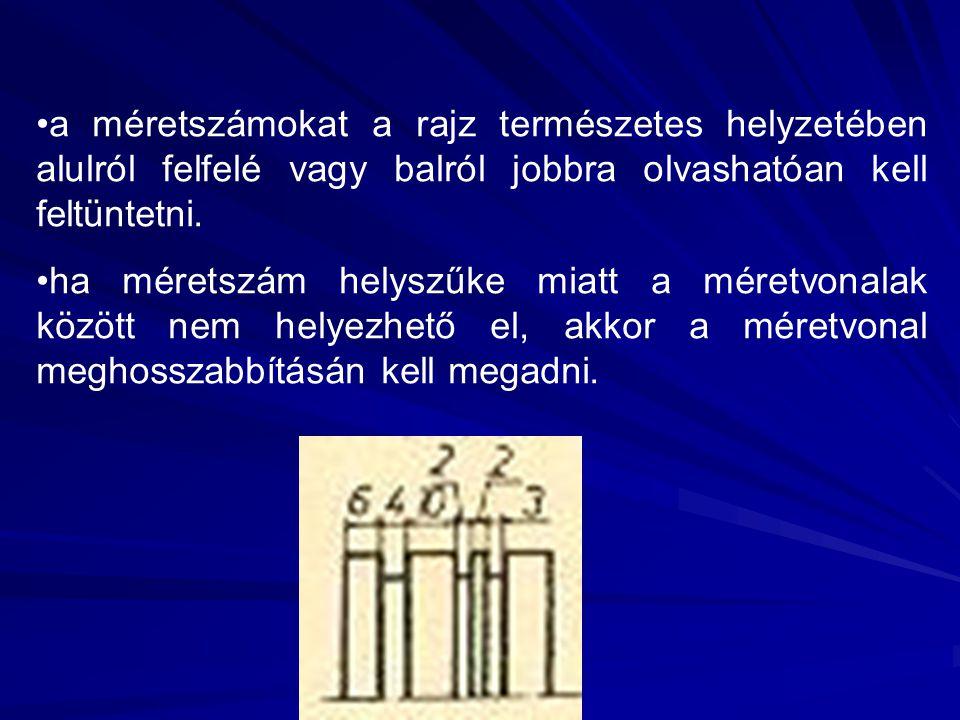a méretszámokat a rajz természetes helyzetében alulról felfelé vagy balról jobbra olvashatóan kell feltüntetni.