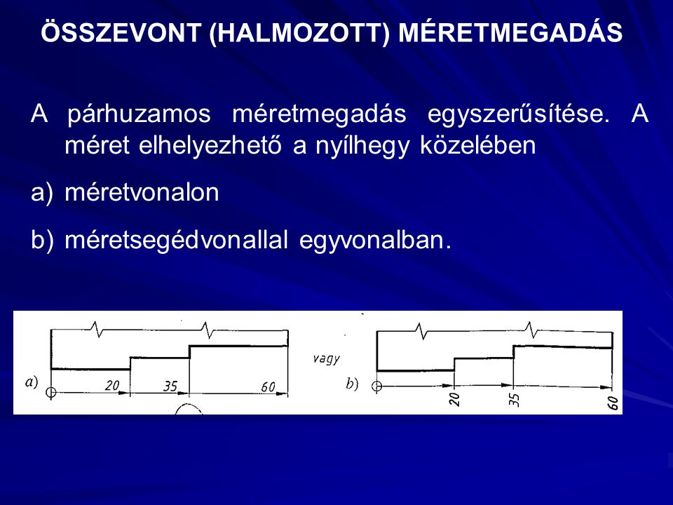 ÖSSZEVONT (HALMOZOTT) MÉRETMEGADÁS