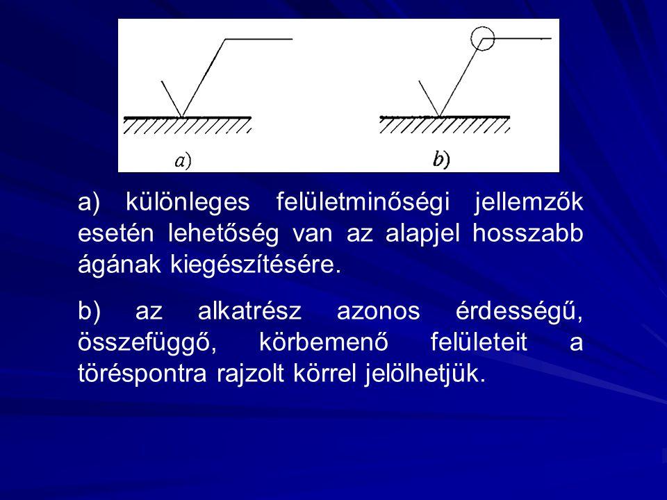 a) különleges felületminőségi jellemzők esetén lehetőség van az alapjel hosszabb ágának kiegészítésére.