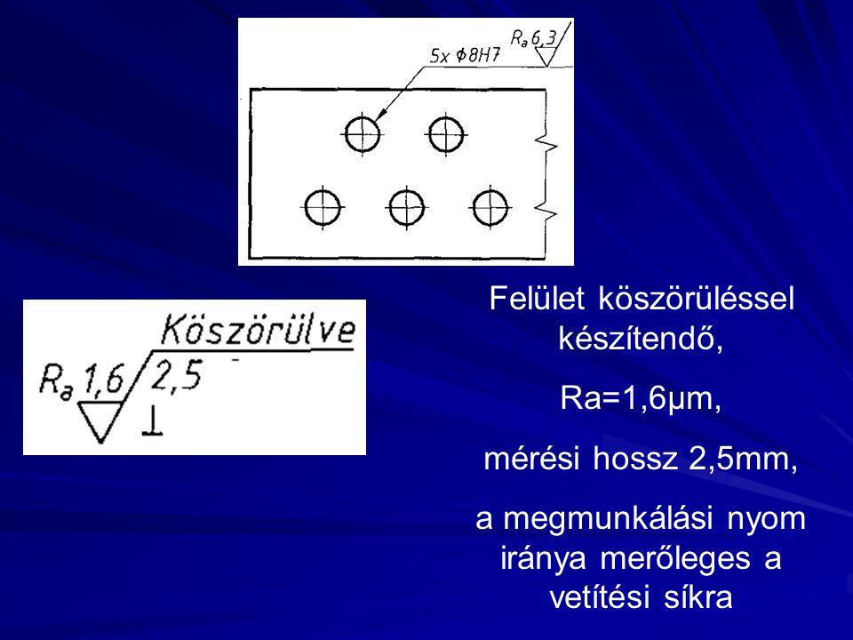 Felület köszörüléssel készítendő, Ra=1,6μm, mérési hossz 2,5mm,
