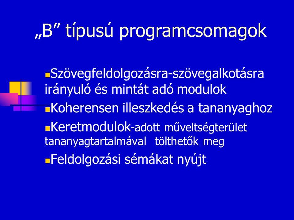 """""""B típusú programcsomagok"""