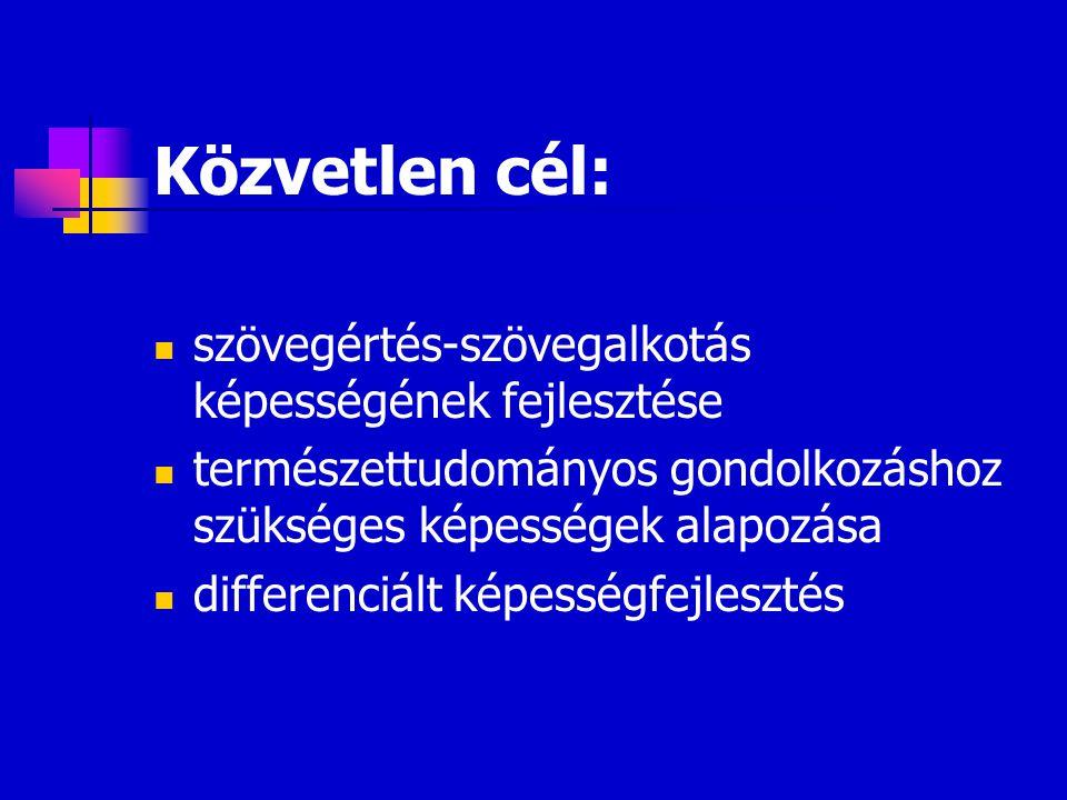 Közvetlen cél: szövegértés-szövegalkotás képességének fejlesztése