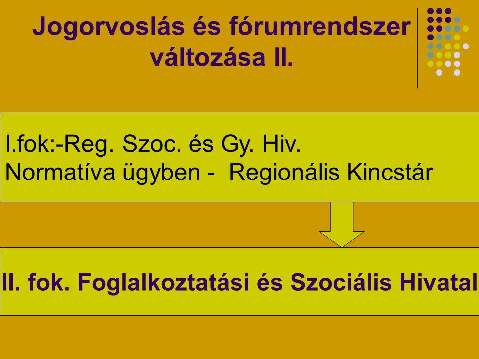 Jogorvoslás és fórumrendszer változása II.