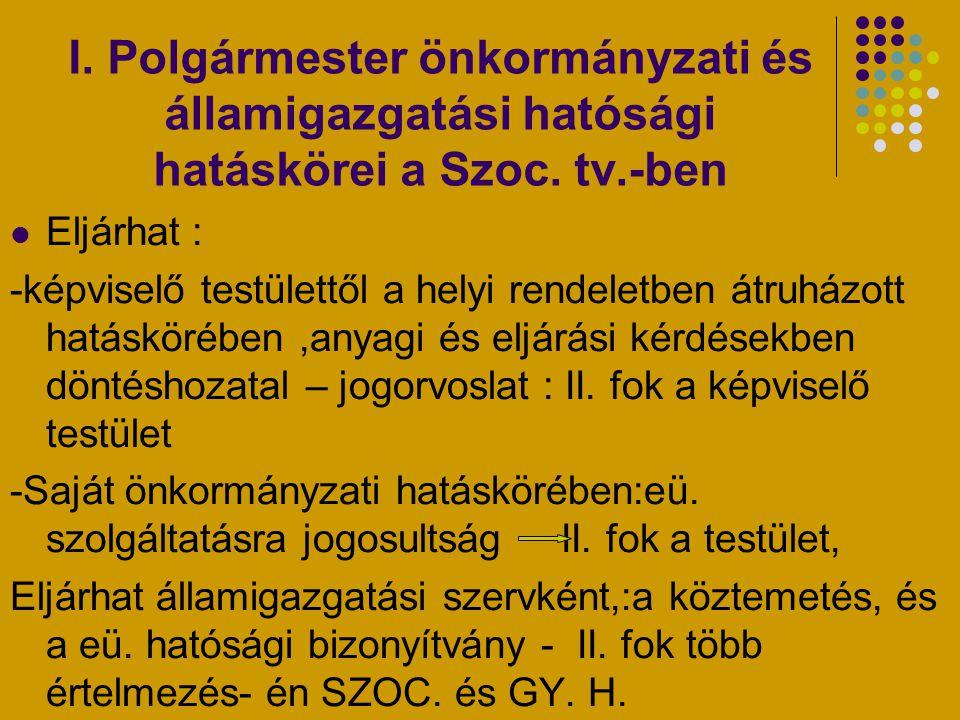 I. Polgármester önkormányzati és államigazgatási hatósági hatáskörei a Szoc. tv.-ben