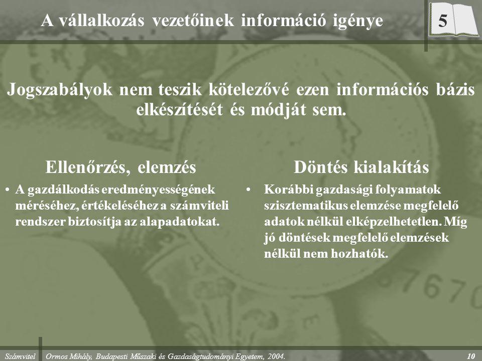 A vállalkozás vezetőinek információ igénye