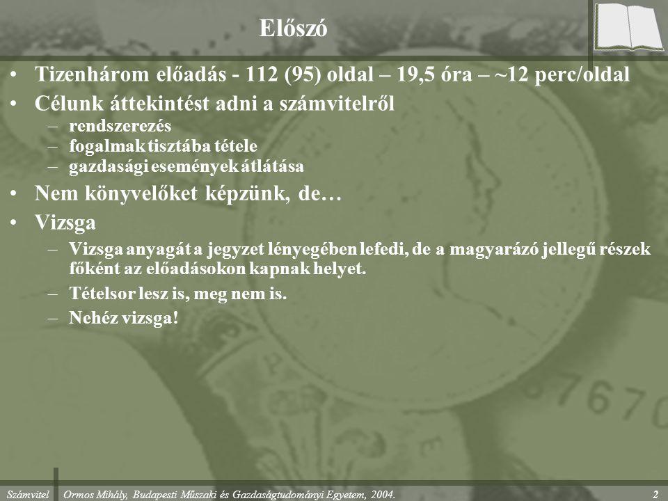 Előszó Tizenhárom előadás - 112 (95) oldal – 19,5 óra – ~12 perc/oldal