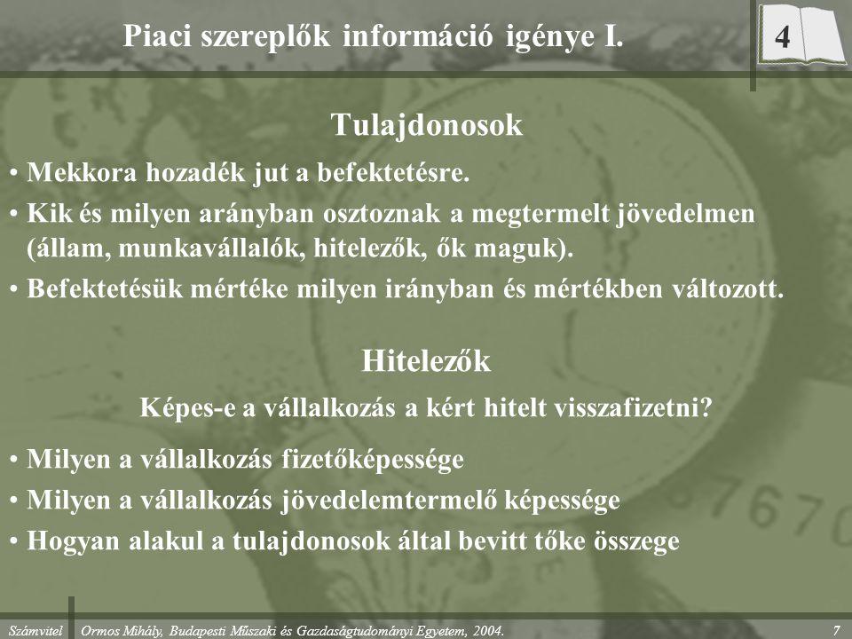 Piaci szereplők információ igénye I.