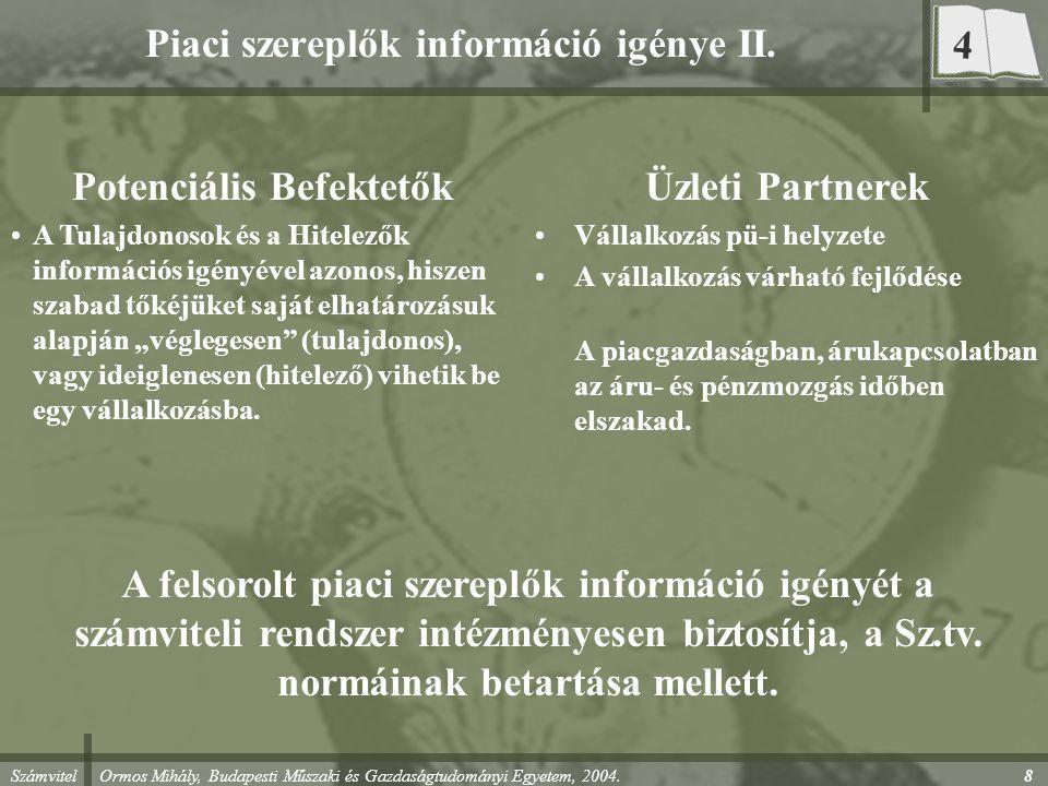 Piaci szereplők információ igénye II.