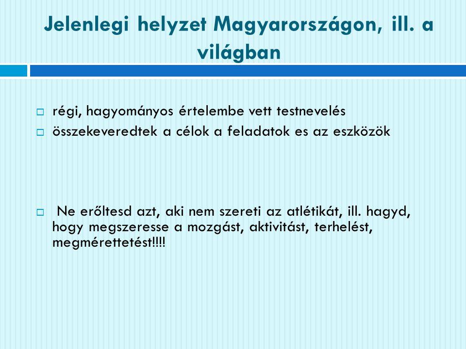 Jelenlegi helyzet Magyarországon, ill. a világban