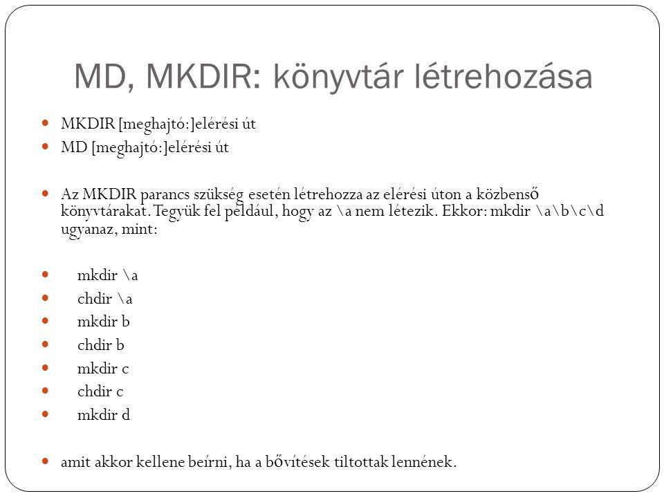 MD, MKDIR: könyvtár létrehozása