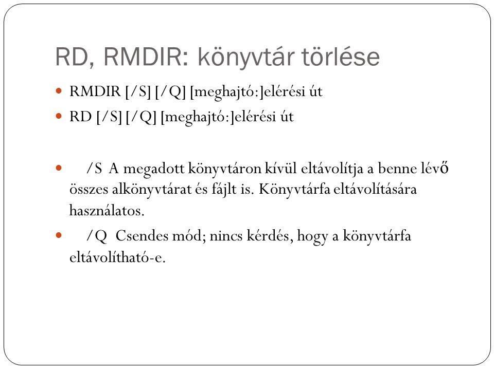 RD, RMDIR: könyvtár törlése