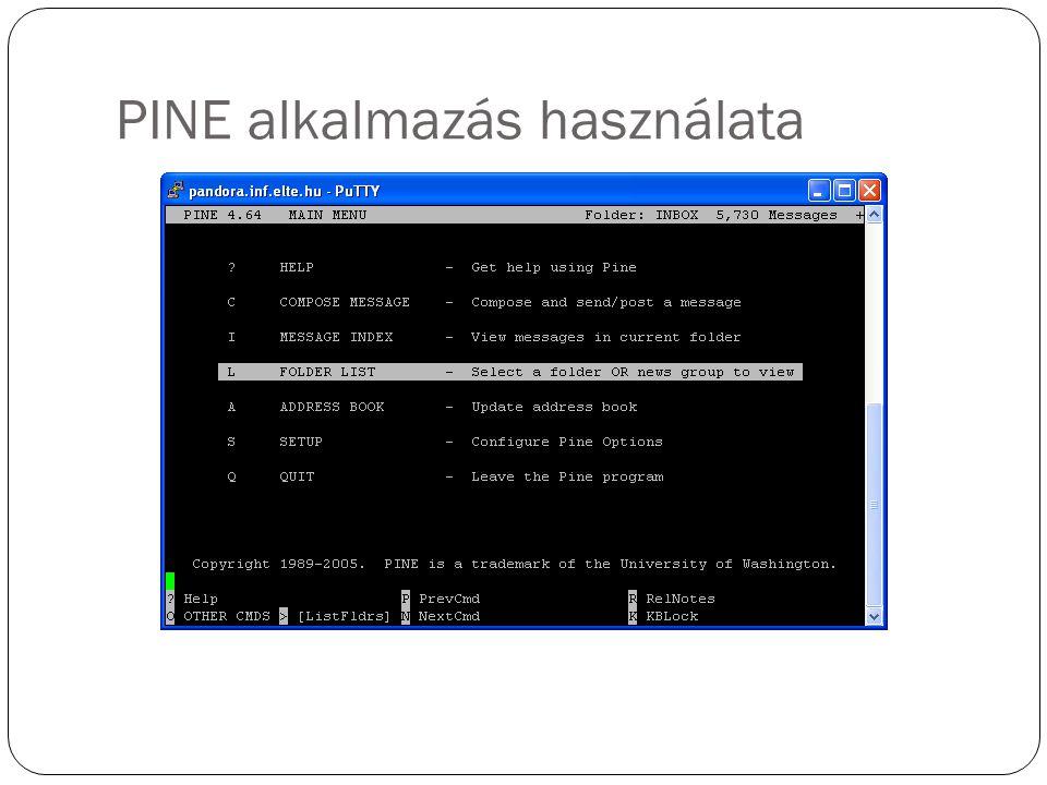 PINE alkalmazás használata