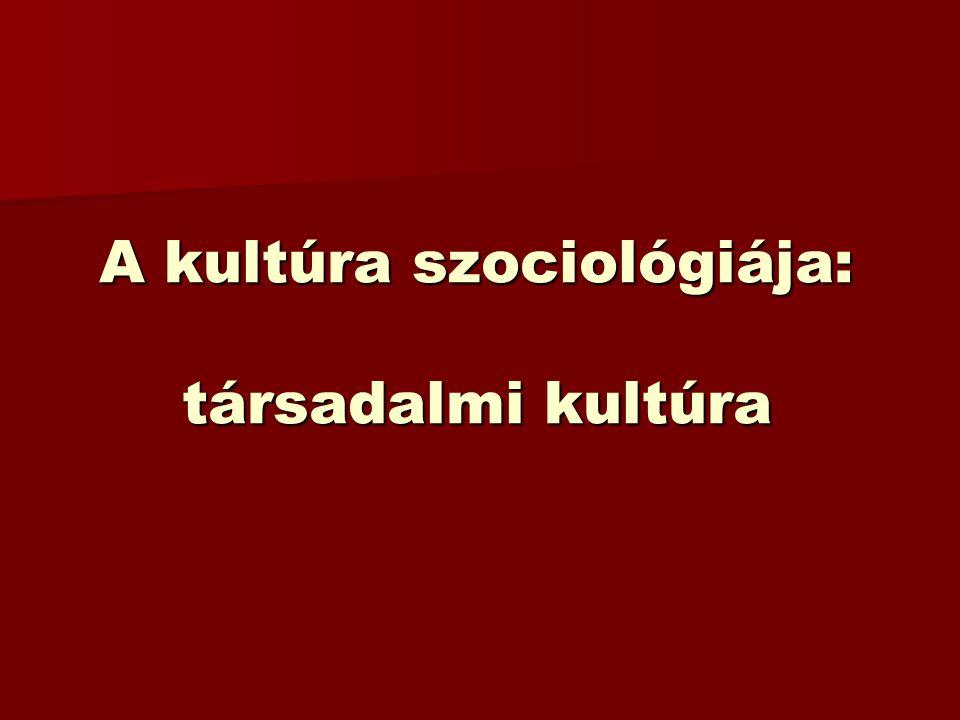 A kultúra szociológiája: társadalmi kultúra