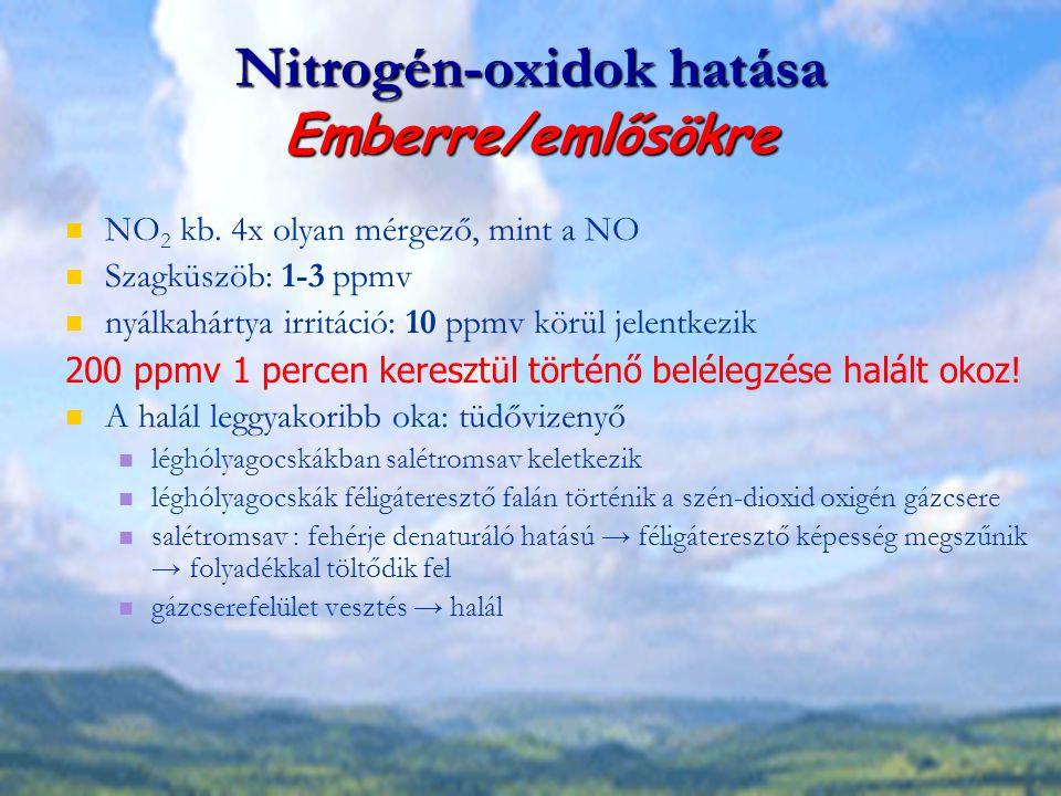 Nitrogén-oxidok hatása Emberre/emlősökre