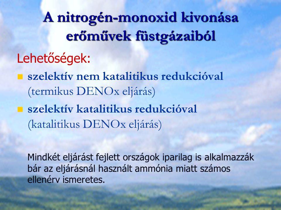 A nitrogén-monoxid kivonása erőművek füstgázaiból