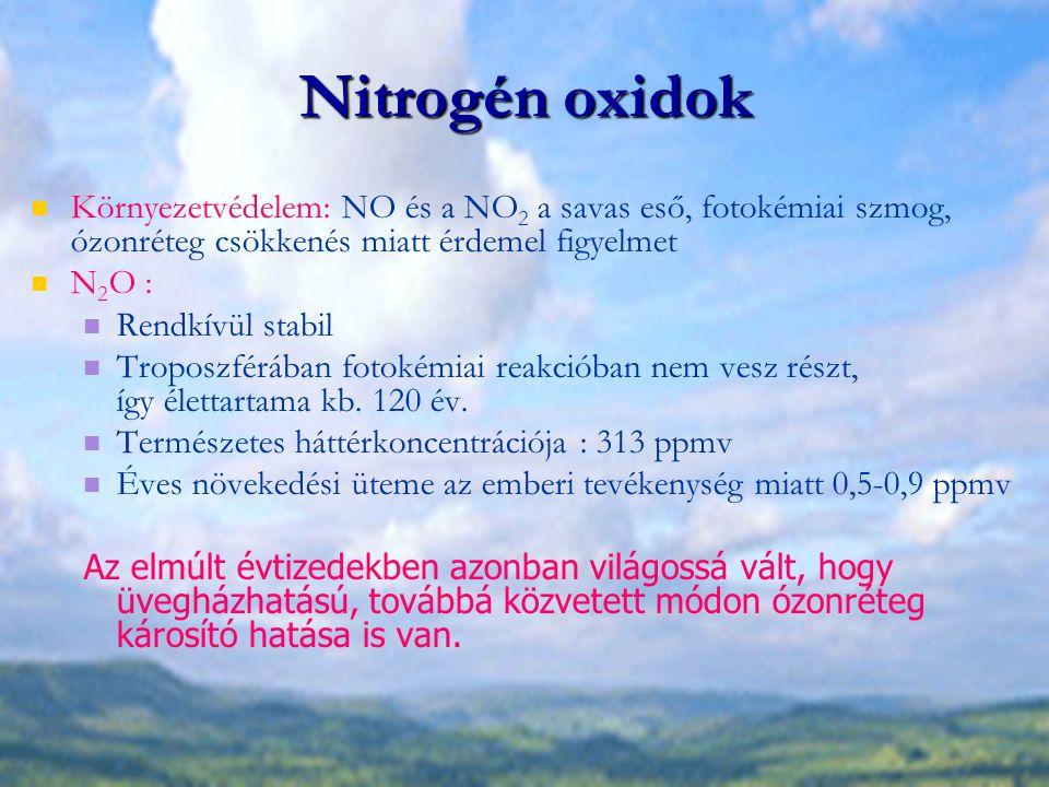 Nitrogén oxidok Környezetvédelem: NO és a NO2 a savas eső, fotokémiai szmog, ózonréteg csökkenés miatt érdemel figyelmet.