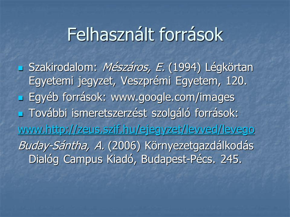 Felhasznált források Szakirodalom: Mészáros, E. (1994) Légkörtan Egyetemi jegyzet, Veszprémi Egyetem, 120.